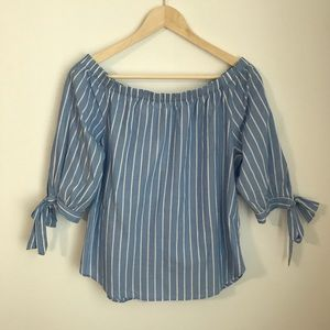 NWT H&M Off the Shoulder Striped Blouse